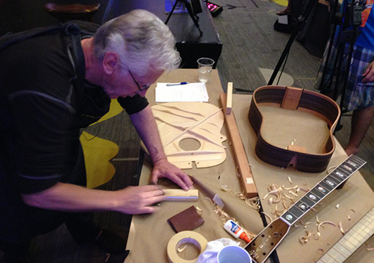 Martin Guitar's Dick Boak provided out tools and materials for a hands-on custom guitar workshop.